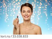 Купить «beautiful smiling young woman with pink lipstick», фото № 33038833, снято 30 ноября 2019 г. (c) Syda Productions / Фотобанк Лори