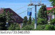 Купить «Koreiz, Crimea - June 2.2019. The Cabins of cableway in Koreiz, Crimea», видеоролик № 33040053, снято 6 февраля 2020 г. (c) Володина Ольга / Фотобанк Лори