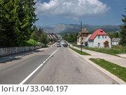 Купить «Zabljak, Montenegro - June 14. 2019. Zabljak - the highest mountain city in the north of country», фото № 33040197, снято 14 июня 2019 г. (c) Володина Ольга / Фотобанк Лори