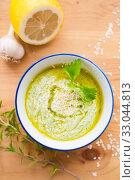 Hummus zucchini squash, top view. Gluten-free and milk-free. Стоковое фото, фотограф Ирина Мойсеева / Фотобанк Лори