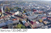 Aerial view of residential districts of Ostrava city on sunny autumn day, Czech Republic. Стоковое видео, видеограф Яков Филимонов / Фотобанк Лори