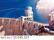 Tower on Hoover Dam in the Colorado Black Canyon (2015 год). Стоковое фото, фотограф Сергей Новиков / Фотобанк Лори