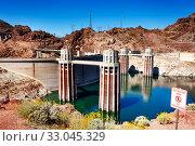 Colorado river Hoover Dam water releasing towers (2015 год). Стоковое фото, фотограф Сергей Новиков / Фотобанк Лори