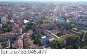 Купить «Panoramic aerial view of Padua cityscape with buildings and streets, Italy», видеоролик № 33045477, снято 5 сентября 2019 г. (c) Яков Филимонов / Фотобанк Лори