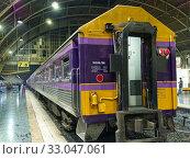 Купить «Second class passenger car at Hua Lamphong railway station, Bangkok, Thailand.», фото № 33047061, снято 18 декабря 2019 г. (c) age Fotostock / Фотобанк Лори
