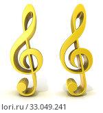 Купить «Golden treble clefs isolated on white background», фото № 33049241, снято 15 июля 2020 г. (c) easy Fotostock / Фотобанк Лори