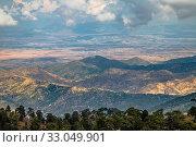 Купить «View from Mount Olympus, highest peak of the island of Cyprus. Troodos mountains», фото № 33049901, снято 8 октября 2019 г. (c) Володина Ольга / Фотобанк Лори