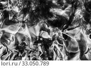 Купить «Dramatic Abstract plume of black smoke and white huge flame of strong fire. Dangerous firestorm abstract background», фото № 33050789, снято 7 августа 2019 г. (c) А. А. Пирагис / Фотобанк Лори