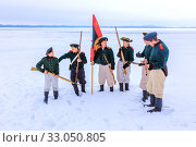 Купить «Russia, Samara, February 2017: Attack of Russian soldiers. 1812 year. Historical reconstruction.», фото № 33050805, снято 23 февраля 2017 г. (c) Акиньшин Владимир / Фотобанк Лори