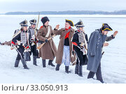 Купить «Russia, Samara, February 2017: The Hussars guide the captured French. Historical reconstruction.», фото № 33050913, снято 23 февраля 2017 г. (c) Акиньшин Владимир / Фотобанк Лори