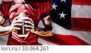 Купить «Composite image of american football player», фото № 33064261, снято 7 апреля 2020 г. (c) Wavebreak Media / Фотобанк Лори