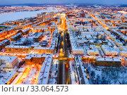 Aerial night view of the city center of Nizhny Tagil. Russia. Стоковое фото, фотограф Евгений Ткачёв / Фотобанк Лори