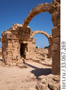 Купить «The remains of Saranta Kolones castle. Paphos Archaeological Park. Cyprus», фото № 33067269, снято 8 июня 2018 г. (c) Serg Zastavkin / Фотобанк Лори