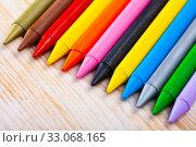Купить «Many various wax crayons on the table», фото № 33068165, снято 26 февраля 2020 г. (c) Яков Филимонов / Фотобанк Лори