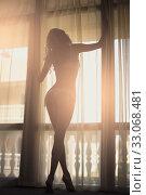 Купить «Sexy slim dark silhouette of a young woman against the background of a window with curtains and sun rays», фото № 33068481, снято 20 июля 2016 г. (c) katalinks / Фотобанк Лори