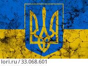 Купить «Ukrainian flag and coat of arms, grunge texture», иллюстрация № 33068601 (c) Александр Подшивалов / Фотобанк Лори