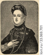 Portrait of Queen Elisabeth of Valois, Elisabeth of France or Elisabeth of Peace (Fontainebleau, April 13, 1546-Aranjuez, October 3, 1568). Third wife... Стоковое фото, фотограф Jerónimo Alba / age Fotostock / Фотобанк Лори