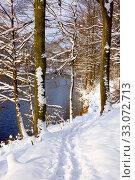 Frosty trees in the winter scenery. Winter landscape of frozen trees and lake. Стоковое фото, фотограф Zoonar.com/Swetlana Wall / easy Fotostock / Фотобанк Лори