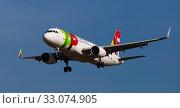 Купить «Airplane of Portuguese airlines approaches for landing», фото № 33074905, снято 26 января 2020 г. (c) Яков Филимонов / Фотобанк Лори