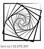 Купить «Abstract 3D background with simple geometric figure. Rotated square stylized design elements isolated on white. Vector», фото № 33075397, снято 3 апреля 2020 г. (c) Dmitry Domashenko / Фотобанк Лори