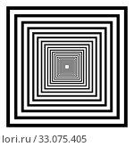 Купить «Abstract 3D background with simple geometric figure. Goes deep stylized square design elements isolated on white. Vector», фото № 33075405, снято 3 апреля 2020 г. (c) Dmitry Domashenko / Фотобанк Лори