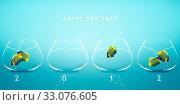 Купить «Happy new year 2012, conceptual image angelfish jumping to new fish bowl and creating 2012 year number.», фото № 33076605, снято 18 февраля 2020 г. (c) age Fotostock / Фотобанк Лори