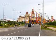Sochi, Russia - June 5. 2018. City panorama with the hotel Bogatyr and Sochi Park. Редакционное фото, фотограф Володина Ольга / Фотобанк Лори