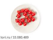Купить «cherry tomatoes on plate», фото № 33080489, снято 6 июня 2020 г. (c) PantherMedia / Фотобанк Лори