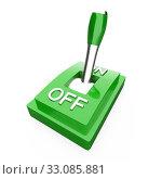 Купить «The green 3D toggle switch - ON», фото № 33085881, снято 27 февраля 2020 г. (c) PantherMedia / Фотобанк Лори