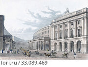 The Quadrant on Regent Street and showing the County Fire Office, London, England. After a work dated 1822. Later colourization. (2019 год). Редакционное фото, фотограф Classic Vision / age Fotostock / Фотобанк Лори