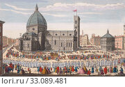 A View of the Cathedral Church of Florence and the Grand Procession of the Host. After a hand-coloured engraving published in London, 1750. (2019 год). Редакционное фото, фотограф Classic Vision / age Fotostock / Фотобанк Лори