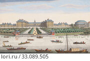 A view of the Royal Hospital at Chelsea & the Rotunda in Ranelaigh Gardens, London, England. After a print dated 1751 from a work by Thomas Bowles. Published by Robert Sayer. Later colourization. (2019 год). Редакционное фото, фотограф Classic Vision / age Fotostock / Фотобанк Лори