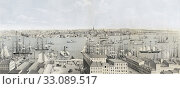 View of Brooklyn, Long Island, from U. S. Hotel, New York. After a chromolithograph created circa 1850 by lithographer Francis Michelin, 1809/10-1878. (2015 год). Редакционное фото, фотограф Classic Vision / age Fotostock / Фотобанк Лори