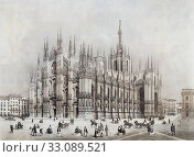 The Duomo, or cathedral, in the Piazza del Duomo. Milan, Milan Province, Lombardy, Italy. After a 19th century work by Francesco Citterio. Later colourization. (2019 год). Редакционное фото, фотограф Classic Vision / age Fotostock / Фотобанк Лори