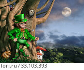 Illustration of a leprechaun with his pot of gold at night. Стоковое фото, фотограф Paul Fleet / PantherMedia / Фотобанк Лори