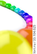 Купить «3D rainbow semicircle of color drops 4», фото № 33104025, снято 27 февраля 2020 г. (c) PantherMedia / Фотобанк Лори