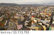 Aerial view of residential districts of Jablonec nad Nisou city in autumn day, Czech Republic. Стоковое видео, видеограф Яков Филимонов / Фотобанк Лори
