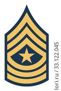 Купить «American sergeant major insignia rank», фото № 33122045, снято 24 февраля 2020 г. (c) PantherMedia / Фотобанк Лори