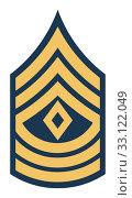 Купить «American First Sergeant insignia rank badge», фото № 33122049, снято 24 февраля 2020 г. (c) PantherMedia / Фотобанк Лори