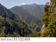 Купить «Enipeas Gorge and mountains on a summer day (Mount Olympus, Macedonia, Greece)», фото № 33122669, снято 21 августа 2019 г. (c) Татьяна Ляпи / Фотобанк Лори