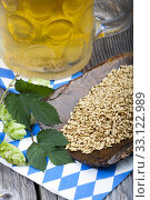 chilled beer with hops and barley. Стоковое фото, фотограф Thomas Klee / PantherMedia / Фотобанк Лори