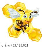 Купить «Cartoon Bee and Honey Comb», фото № 33125021, снято 16 февраля 2020 г. (c) PantherMedia / Фотобанк Лори