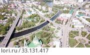 Купить «View of Stary Oskol with the Alexander Nevsky Cathedral at sunny day, Russia», видеоролик № 33131417, снято 3 мая 2019 г. (c) Яков Филимонов / Фотобанк Лори