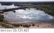 Aerial view of river and pressure water dam of Voronezh city, Russia (2019 год). Стоковое видео, видеограф Яков Филимонов / Фотобанк Лори