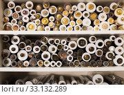 Купить «Buttons on needlework store shelves in Barcelona», фото № 33132289, снято 18 октября 2019 г. (c) Яков Филимонов / Фотобанк Лори