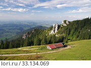 View from the hiking trail at the foot of the Kampenwand,Chiemgau. Стоковое фото, фотограф Peter Nicolini / PantherMedia / Фотобанк Лори