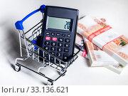 Купить «Калькулятор с цифрой 20 (значение НДС в России) на экране лежит в магазинной тележке на фоне пачек 5000 рублевых купюр», фото № 33136621, снято 15 февраля 2020 г. (c) Николай Винокуров / Фотобанк Лори