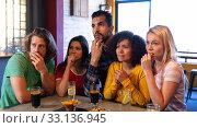 Купить «Fans stressed out while looking a match on TV», фото № 33136945, снято 15 ноября 2019 г. (c) Wavebreak Media / Фотобанк Лори