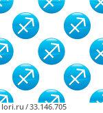 Купить «Round sign with zodiac sagittarius symbol, repeated on white background», фото № 33146705, снято 8 апреля 2020 г. (c) age Fotostock / Фотобанк Лори