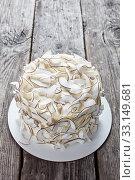 Купить «close-up of a coconut cake, top view», фото № 33149681, снято 27 октября 2019 г. (c) Oksana Zh / Фотобанк Лори